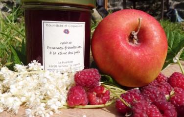 Gelée de pommes et framboises à la reine des prés.